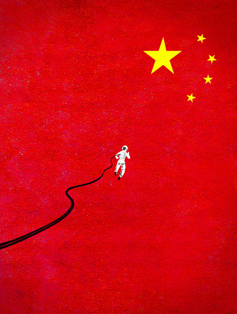 China's Space Race illustration by Brian Stauffer