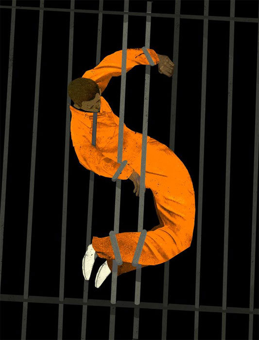 Prisons for Profit illustration by Brian Stauffer