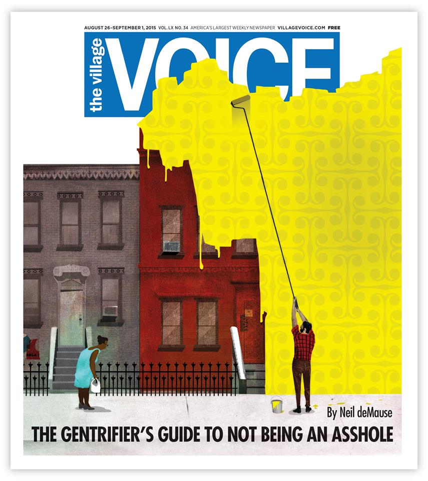 illustration by Brian Stauffer for The Village Voice about Gentrification