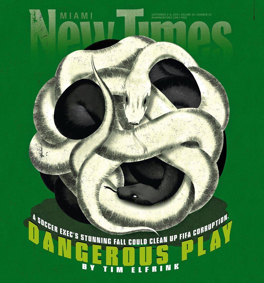 illustration by Brian Stauffer about FIFA Soccer organization corruption