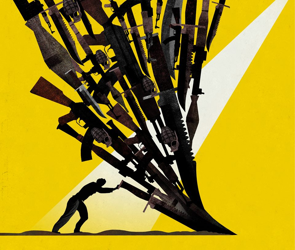 cover illustration for WSJ: Turn Your Swords Into Ploughshares: How to Defeat Religious Violence by Brian Stauffer