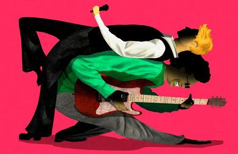 illustration by Brian Stauffer David Bowie and Carlos Alomar