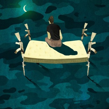 illustration by Brian Stauffer for Emory Medicine, about female war vets and PTSD-related insomnia.