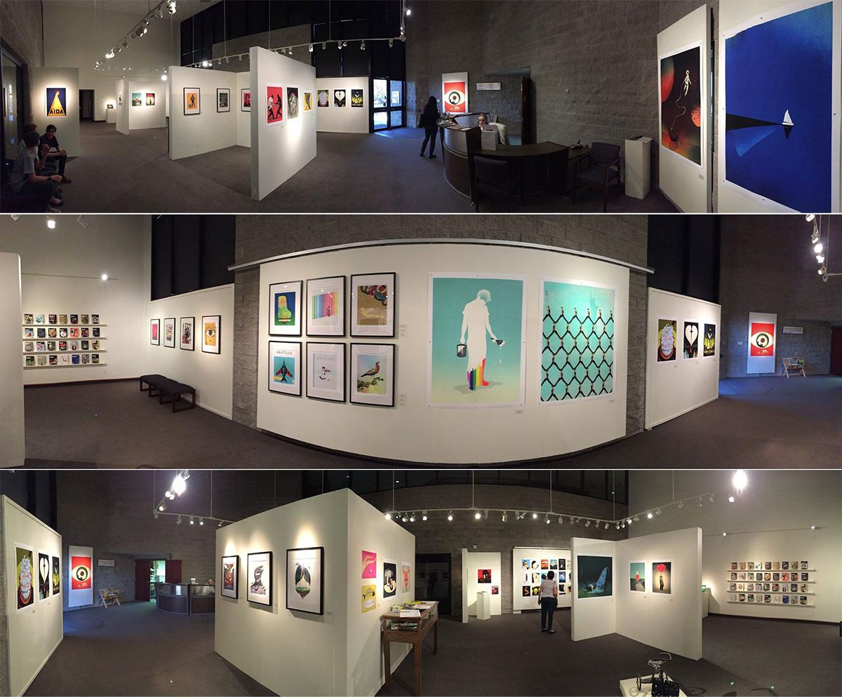 Panoramic photos of Brian Stauffer's solo exhibit at Yavapai College in Prescott, Arizona